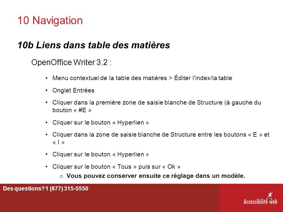 10 Navigation 10b Liens dans table des matières OpenOffice Writer 3.2 : Menu contextuel de la table des matières > Éditer l'index/la table Onglet Entr