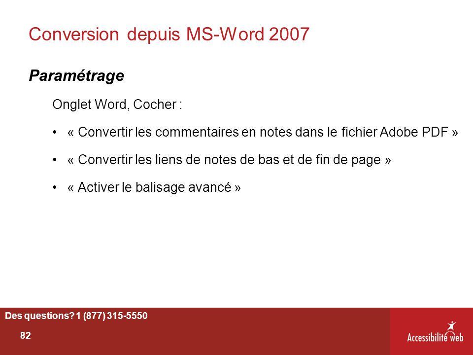 Conversion depuis MS-Word 2007 Paramétrage Onglet Word, Cocher : « Convertir les commentaires en notes dans le fichier Adobe PDF » « Convertir les lie