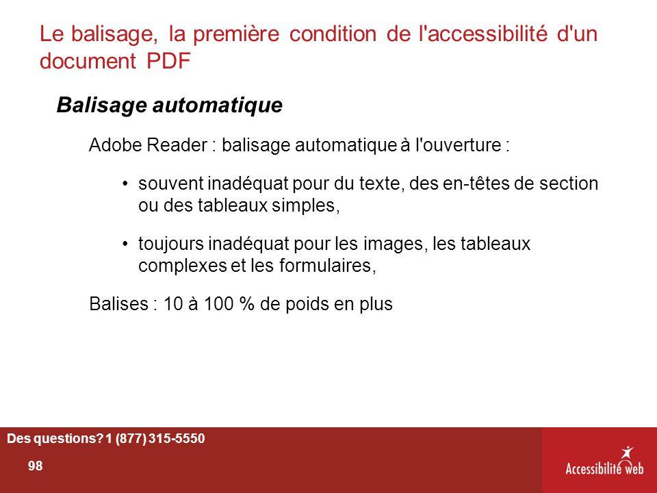 Le balisage, la première condition de l'accessibilité d'un document PDF Balisage automatique Adobe Reader : balisage automatique à l'ouverture : souve