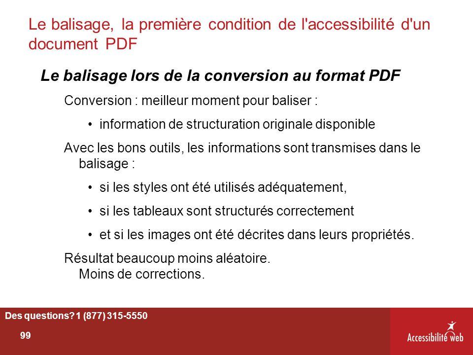 Le balisage, la première condition de l'accessibilité d'un document PDF Le balisage lors de la conversion au format PDF Conversion : meilleur moment p