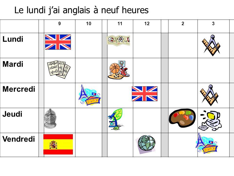 910111223 Lundi Mardi Mercredi Jeudi Vendredi Le lundi j'ai anglais à neuf heures