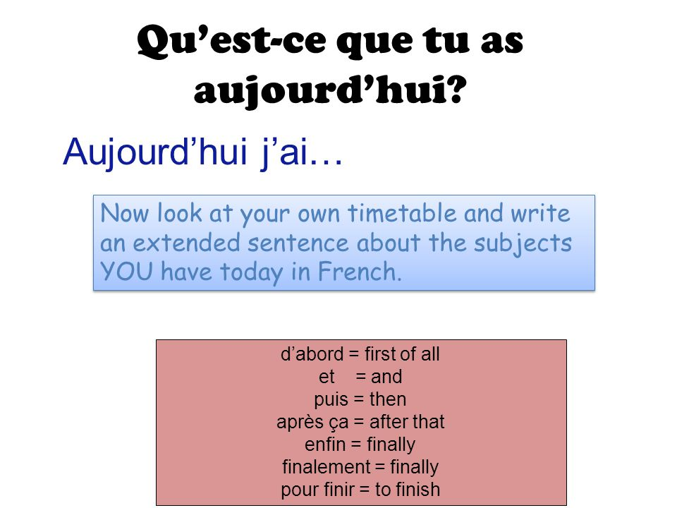 Qu'est-ce que tu as aujourd'hui? Aujourd'hui j'ai… Now look at your own timetable and write an extended sentence about the subjects YOU have today in