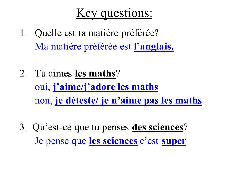 Key questions: 1.Quelle est ta matière préférée.Ma matière préférée est l'anglais.