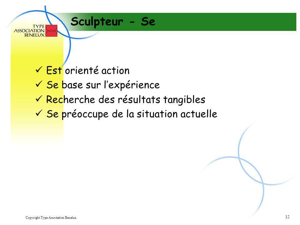 Copyright Type Association Benelux 12 Sculpteur - Se Est orienté action Se base sur l'expérience Recherche des résultats tangibles Se préoccupe de la