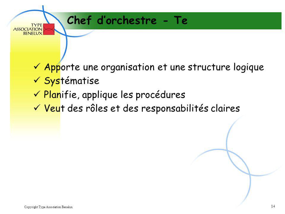 Copyright Type Association Benelux 14 Chef d'orchestre - Te Apporte une organisation et une structure logique Systématise Planifie, applique les procé