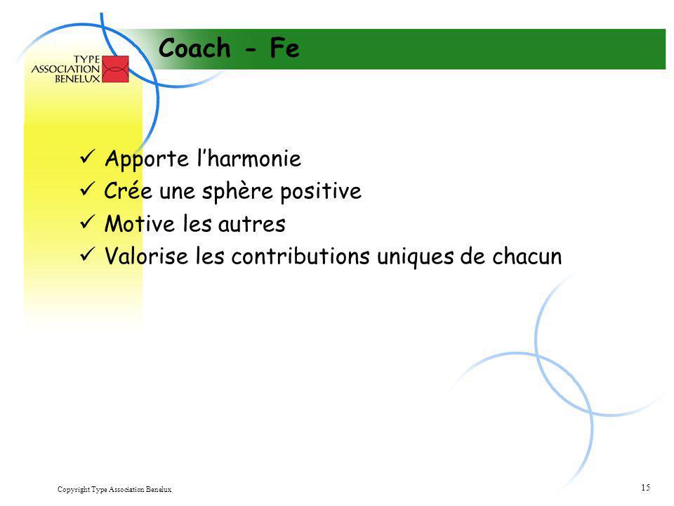 Copyright Type Association Benelux 15 Coach - Fe Apporte l'harmonie Crée une sphère positive Motive les autres Valorise les contributions uniques de c