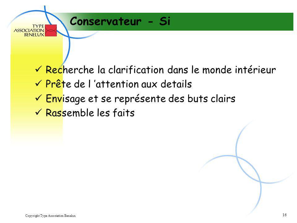 Copyright Type Association Benelux 16 Conservateur - Si Recherche la clarification dans le monde intérieur Prête de l 'attention aux details Envisage