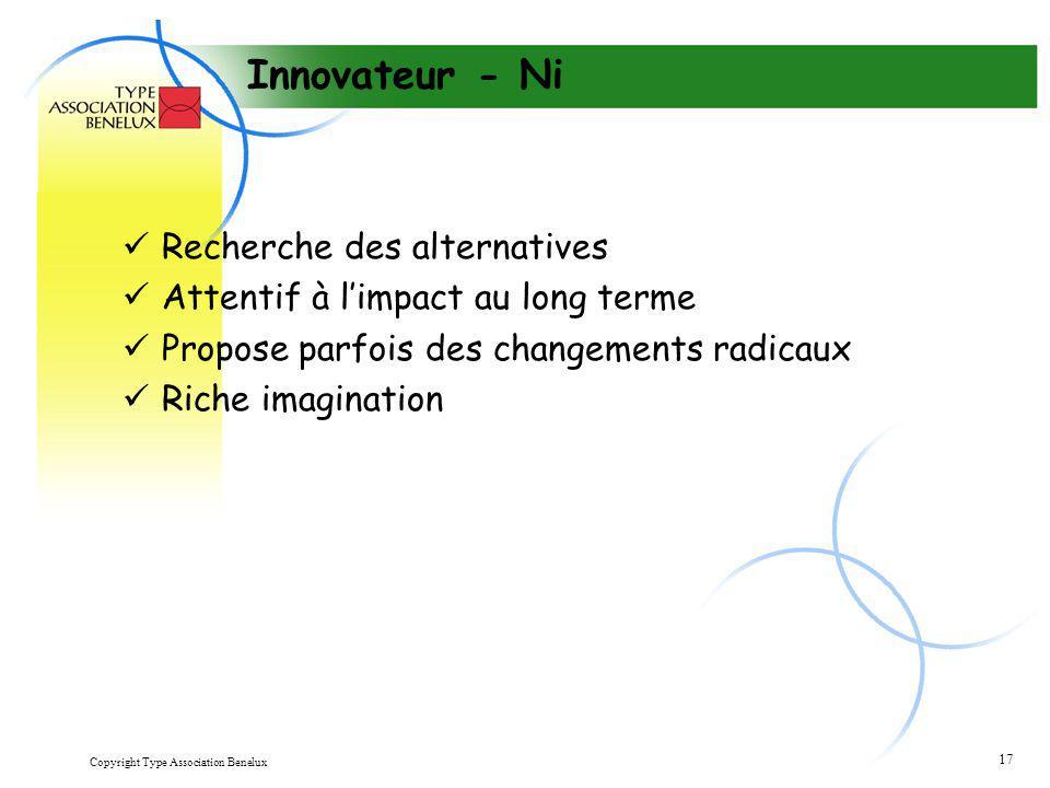 Copyright Type Association Benelux 17 Innovateur - Ni Recherche des alternatives Attentif à l'impact au long terme Propose parfois des changements rad
