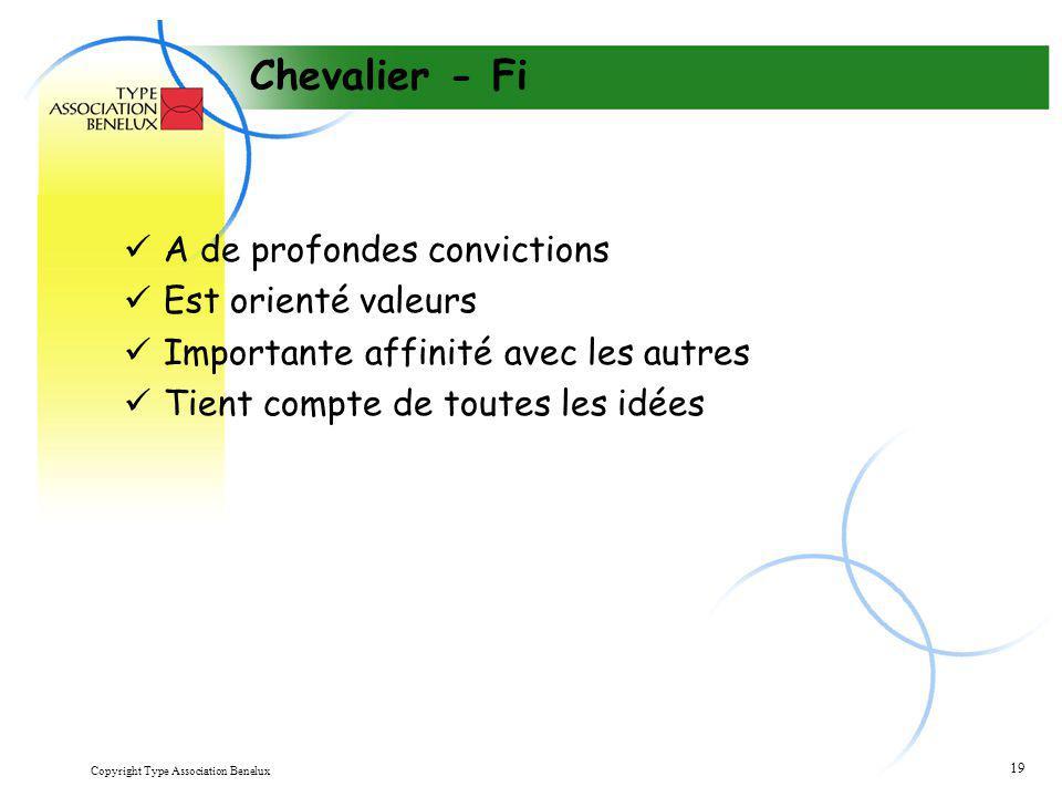 Copyright Type Association Benelux 19 Chevalier - Fi A de profondes convictions Est orienté valeurs Importante affinité avec les autres Tient compte d