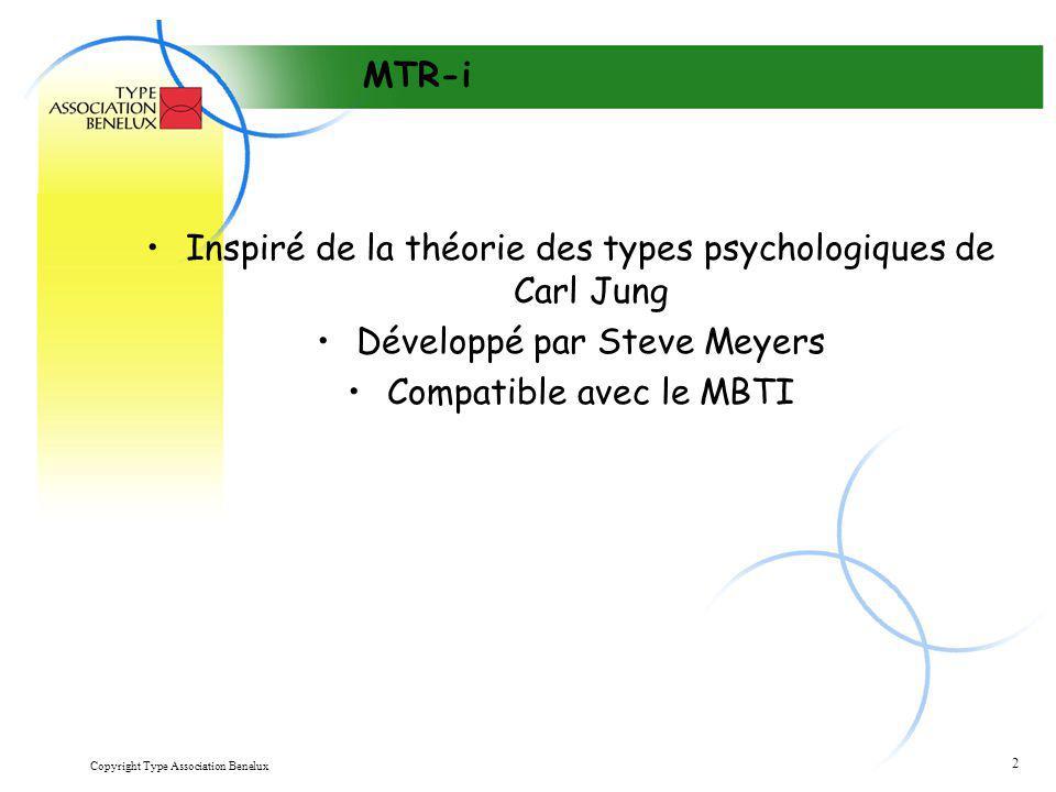 Copyright Type Association Benelux 2 MTR-i Inspiré de la théorie des types psychologiques de Carl Jung Développé par Steve Meyers Compatible avec le M