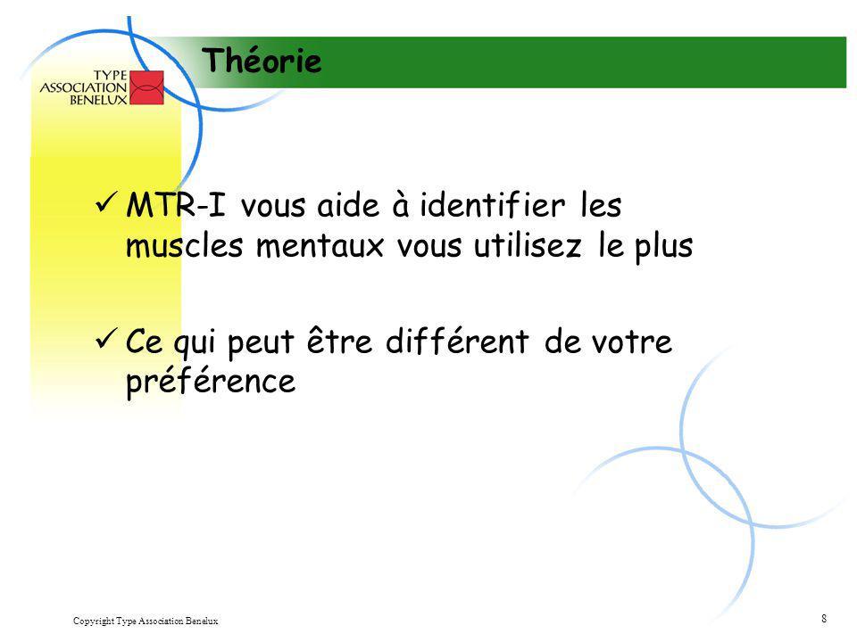 Copyright Type Association Benelux 8 Théorie MTR-I vous aide à identifier les muscles mentaux vous utilisez le plus Ce qui peut être différent de votr