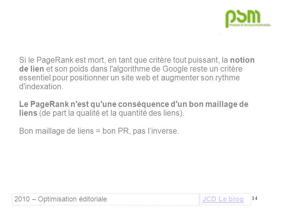 14 Si le PageRank est mort, en tant que critère tout puissant, la notion de lien et son poids dans l algorithme de Google reste un critère essentiel pour positionner un site web et augmenter son rythme d indexation.