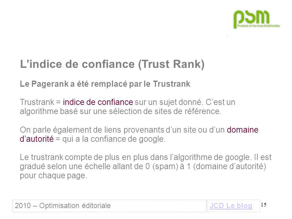 15 L'indice de confiance (Trust Rank) Le Pagerank a été remplacé par le Trustrank Trustrank = indice de confiance sur un sujet donné.