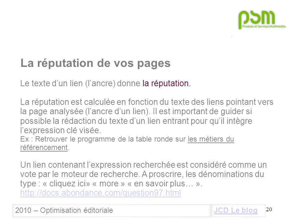 20 La réputation de vos pages Le texte d'un lien (l'ancre) donne la réputation.