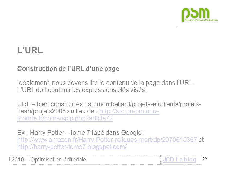 22 L'URL Construction de l'URL d'une page Idéalement, nous devons lire le contenu de la page dans l'URL. L'URL doit contenir les expressions clés visé