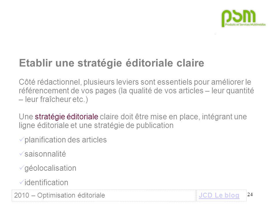 24 Etablir une stratégie éditoriale claire Côté rédactionnel, plusieurs leviers sont essentiels pour améliorer le référencement de vos pages (la quali