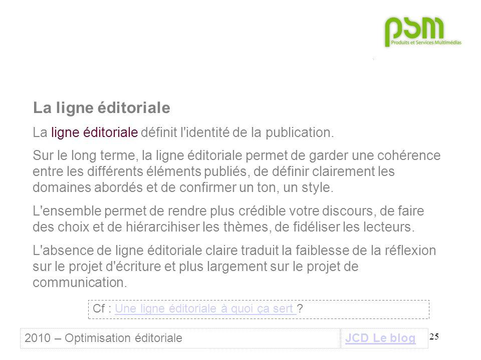 25 La ligne éditoriale La ligne éditoriale définit l identité de la publication.
