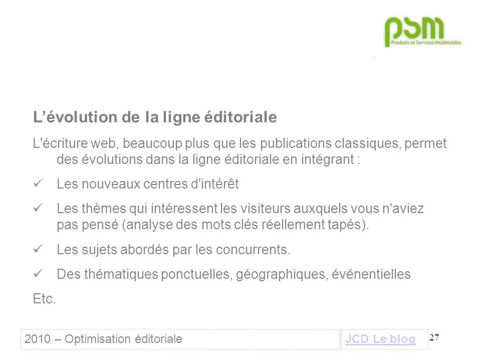 27 L'évolution de la ligne éditoriale L'écriture web, beaucoup plus que les publications classiques, permet des évolutions dans la ligne éditoriale en