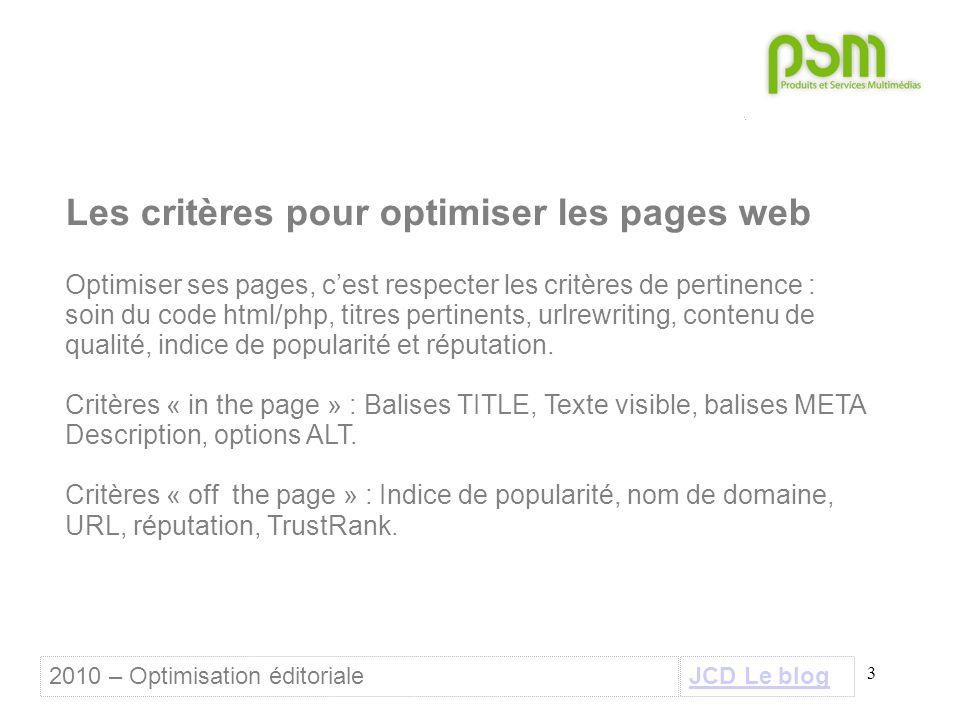 3 Les critères pour optimiser les pages web Optimiser ses pages, c'est respecter les critères de pertinence : soin du code html/php, titres pertinents, urlrewriting, contenu de qualité, indice de popularité et réputation.