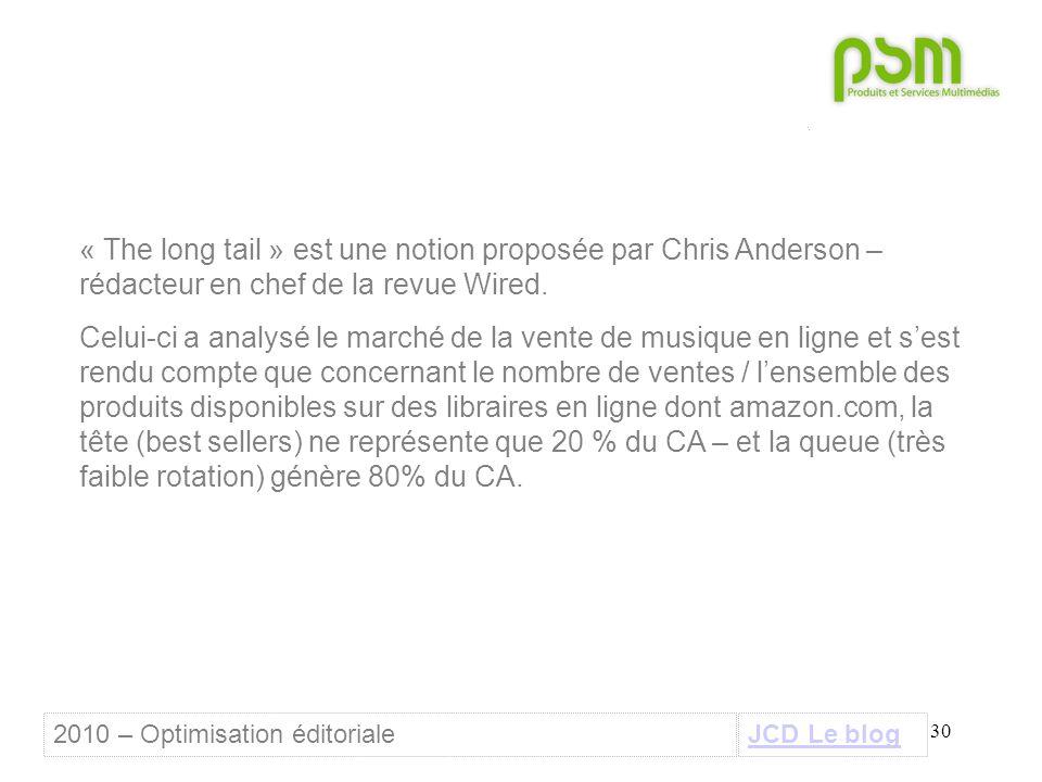 30 « The long tail » est une notion proposée par Chris Anderson – rédacteur en chef de la revue Wired. Celui-ci a analysé le marché de la vente de mus