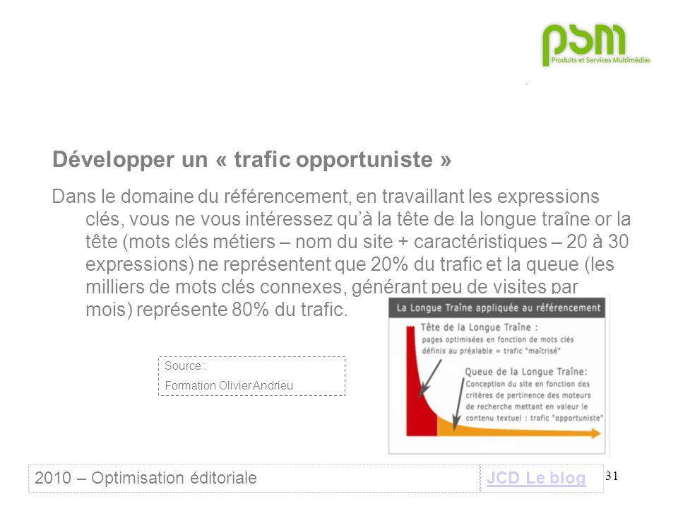 31 Développer un « trafic opportuniste » Dans le domaine du référencement, en travaillant les expressions clés, vous ne vous intéressez qu'à la tête d