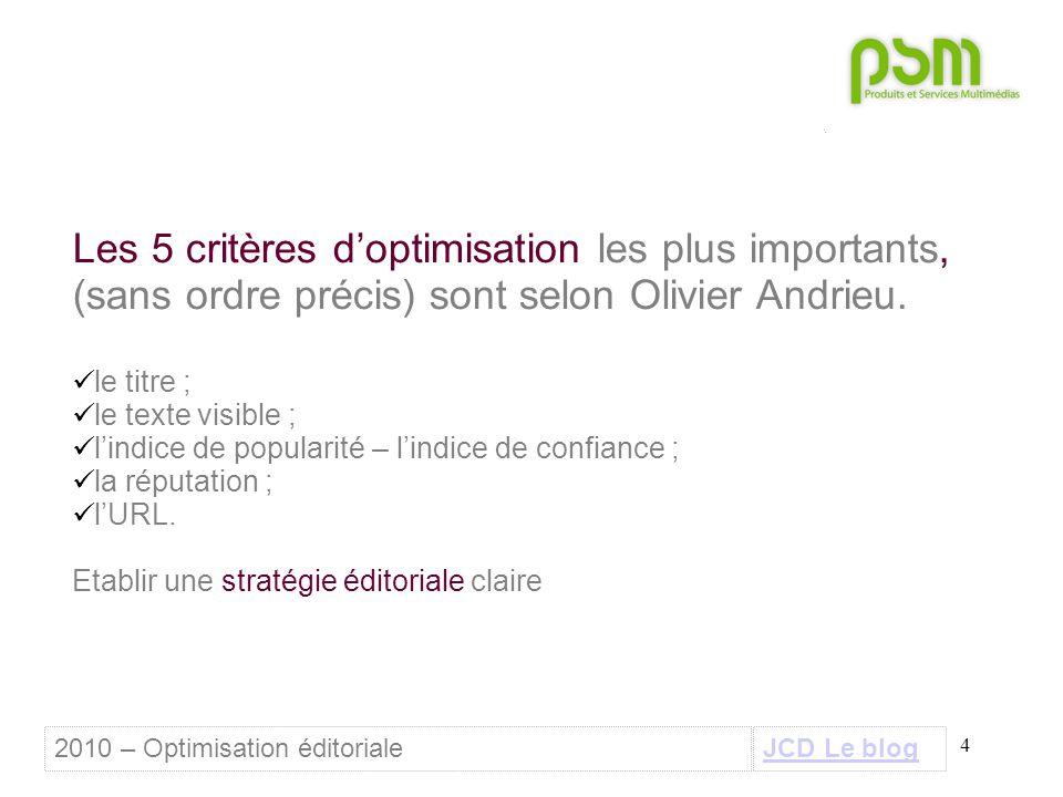 4 Les 5 critères d'optimisation les plus importants, (sans ordre précis) sont selon Olivier Andrieu. le titre ; le texte visible ; l'indice de popular