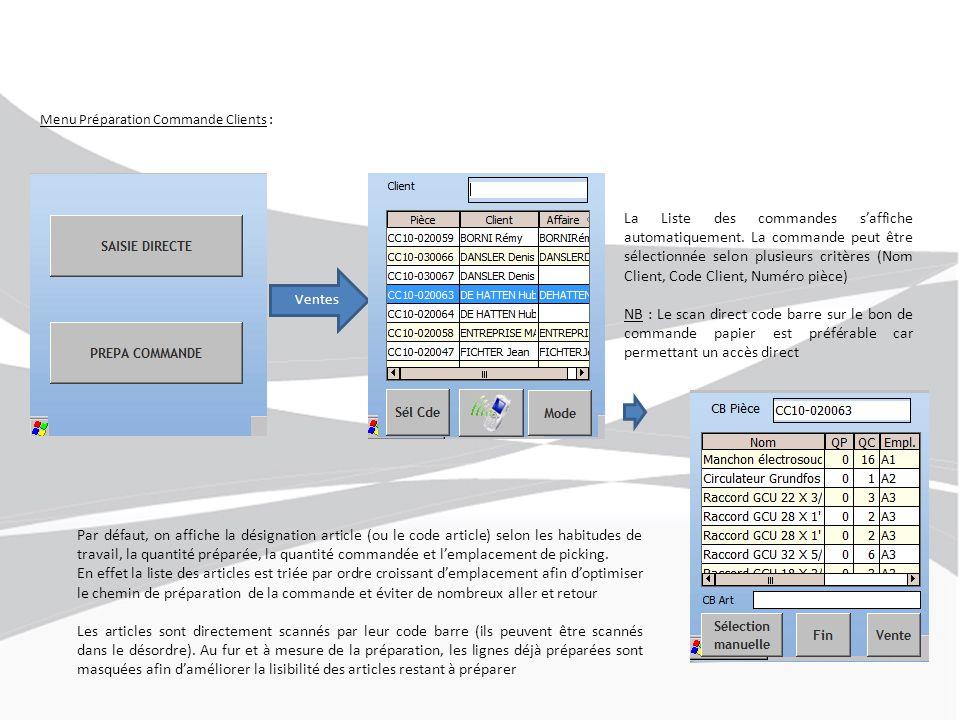 Menu Préparation Commande Clients : Ventes La Liste des commandes s'affiche automatiquement. La commande peut être sélectionnée selon plusieurs critèr