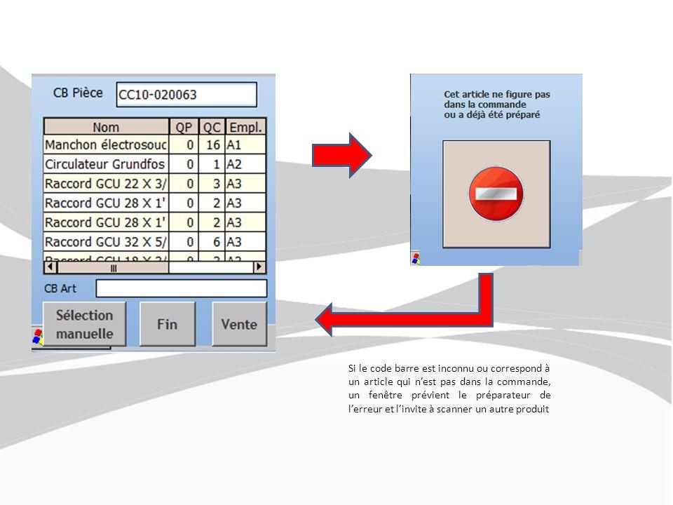 Si le code barre est inconnu ou correspond à un article qui n'est pas dans la commande, un fenêtre prévient le préparateur de l'erreur et l'invite à scanner un autre produit
