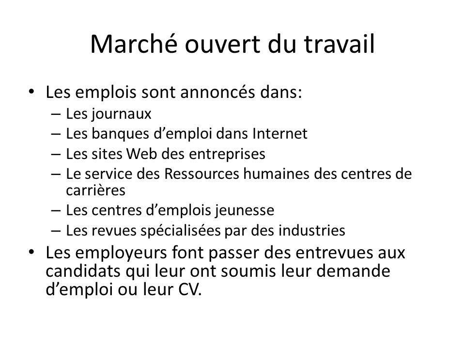 Marché ouvert du travail Les emplois sont annoncés dans: – Les journaux – Les banques d'emploi dans Internet – Les sites Web des entreprises – Le serv