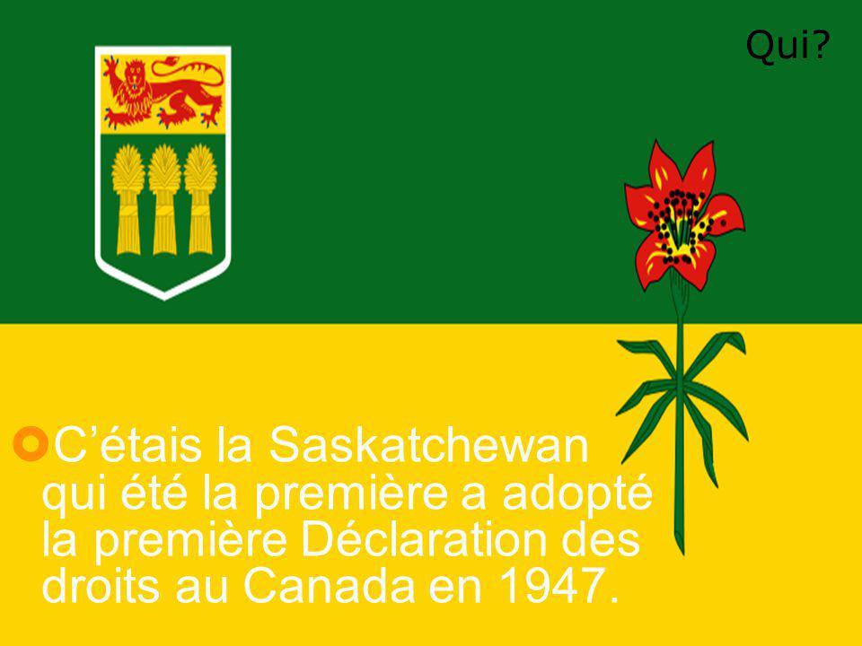  C'étais la Saskatchewan qui été la première a adopté la première Déclaration des droits au Canada en 1947.