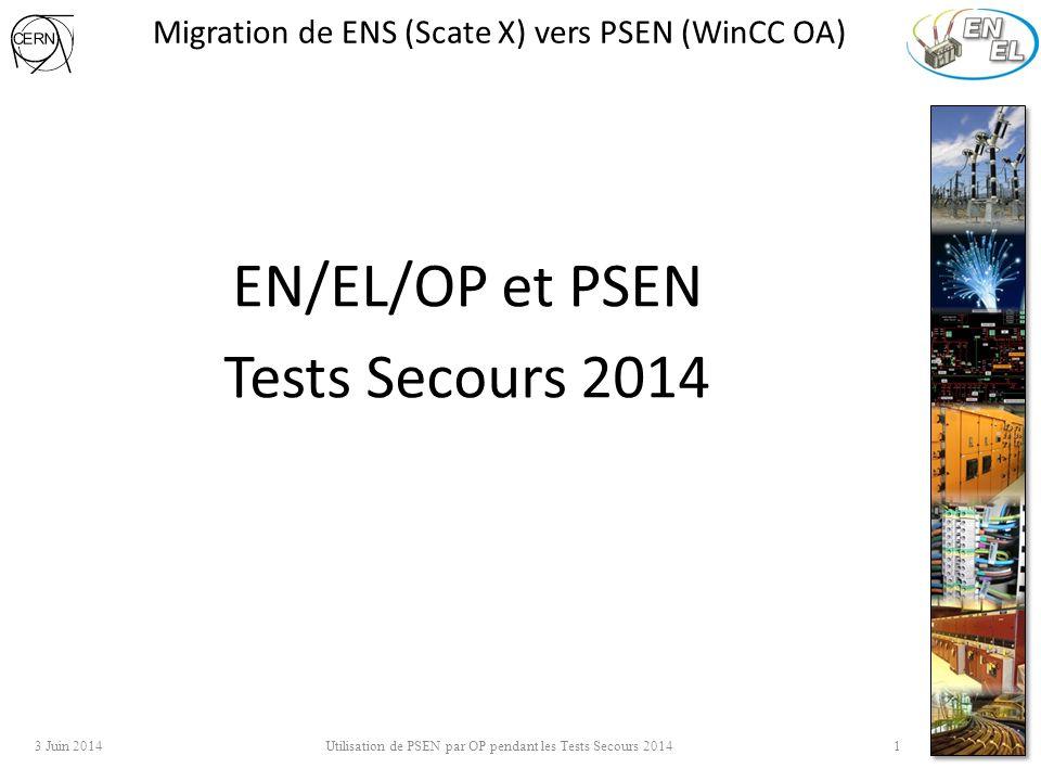 Migration de ENS (Scate X) vers PSEN (WinCC OA) EN/EL/OP et PSEN Tests Secours 2014 3 Juin 2014 Utilisation de PSEN par OP pendant les Tests Secours 2014 1