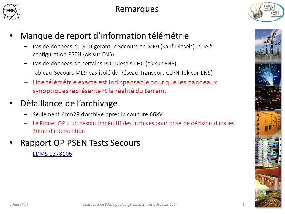 Remarques Manque de report d'information télémétrie – Pas de données du RTU gérant le Secours en ME9 (Sauf Diesels), due à configuration PSEN (ok sur ENS) – Pas de données de certains PLC Diesels LHC (ok sur ENS) – Tableau Secours ME9 pas isolé du Réseau Transport CERN (ok sur ENS) – Une télémétrie exacte est indispensable pour que les panneaux synoptiques représentent la réalité du terrain.