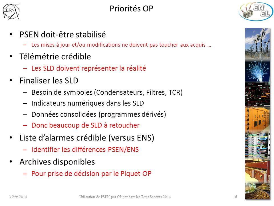 Priorités OP PSEN doit-être stabilisé – Les mises à jour et/ou modifications ne doivent pas toucher aux acquis … Télémétrie crédible – Les SLD doivent représenter la réalité Finaliser les SLD – Besoin de symboles (Condensateurs, Filtres, TCR) – Indicateurs numériques dans les SLD – Données consolidées (programmes dérivés) – Donc beaucoup de SLD à retoucher Liste d'alarmes crédible (versus ENS) – Identifier les différences PSEN/ENS Archives disponibles – Pour prise de décision par le Piquet OP 3 Juin 2014 Utilisation de PSEN par OP pendant les Tests Secours 2014 16