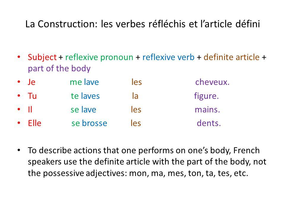 La Construction: les verbes réfléchis et l'article défini Subject + reflexive pronoun + reflexive verb + definite article + part of the body Je me lav