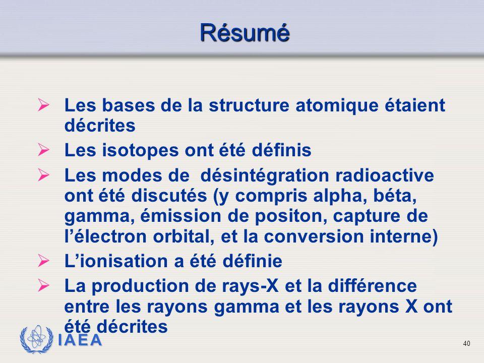 IAEA Résumé  Les bases de la structure atomique étaient décrites  Les isotopes ont été définis  Les modes de désintégration radioactive ont été dis
