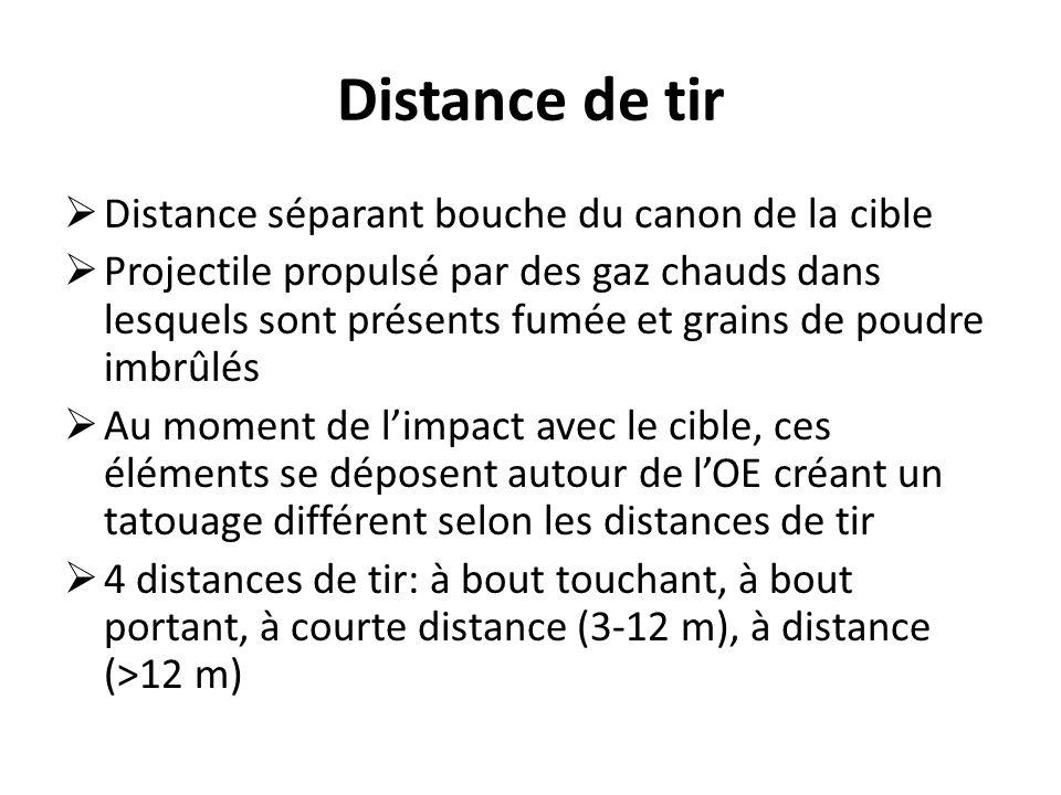 Distance de tir  Distance séparant bouche du canon de la cible  Projectile propulsé par des gaz chauds dans lesquels sont présents fumée et grains de poudre imbrûlés  Au moment de l'impact avec le cible, ces éléments se déposent autour de l'OE créant un tatouage différent selon les distances de tir  4 distances de tir: à bout touchant, à bout portant, à courte distance (3-12 m), à distance (>12 m)