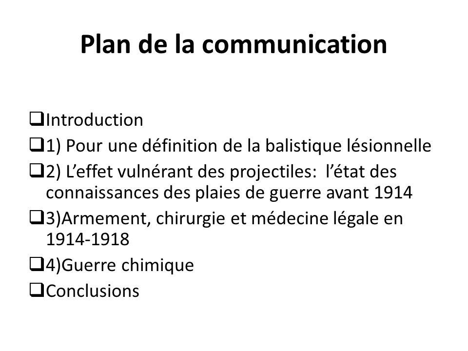 Plan de la communication  Introduction  1) Pour une définition de la balistique lésionnelle  2) L'effet vulnérant des projectiles: l'état des conna