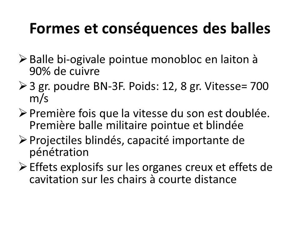 Formes et conséquences des balles  Balle bi-ogivale pointue monobloc en laiton à 90% de cuivre  3 gr. poudre BN-3F. Poids: 12, 8 gr. Vitesse= 700 m/