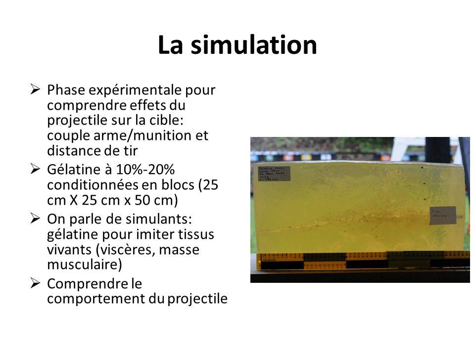 La simulation  Phase expérimentale pour comprendre effets du projectile sur la cible: couple arme/munition et distance de tir  Gélatine à 10%-20% conditionnées en blocs (25 cm X 25 cm x 50 cm)  On parle de simulants: gélatine pour imiter tissus vivants (viscères, masse musculaire)  Comprendre le comportement du projectile