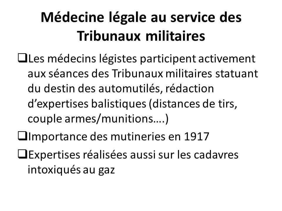 Médecine légale au service des Tribunaux militaires  Les médecins légistes participent activement aux séances des Tribunaux militaires statuant du de