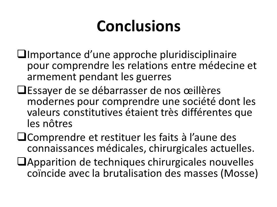 Conclusions  Importance d'une approche pluridisciplinaire pour comprendre les relations entre médecine et armement pendant les guerres  Essayer de s