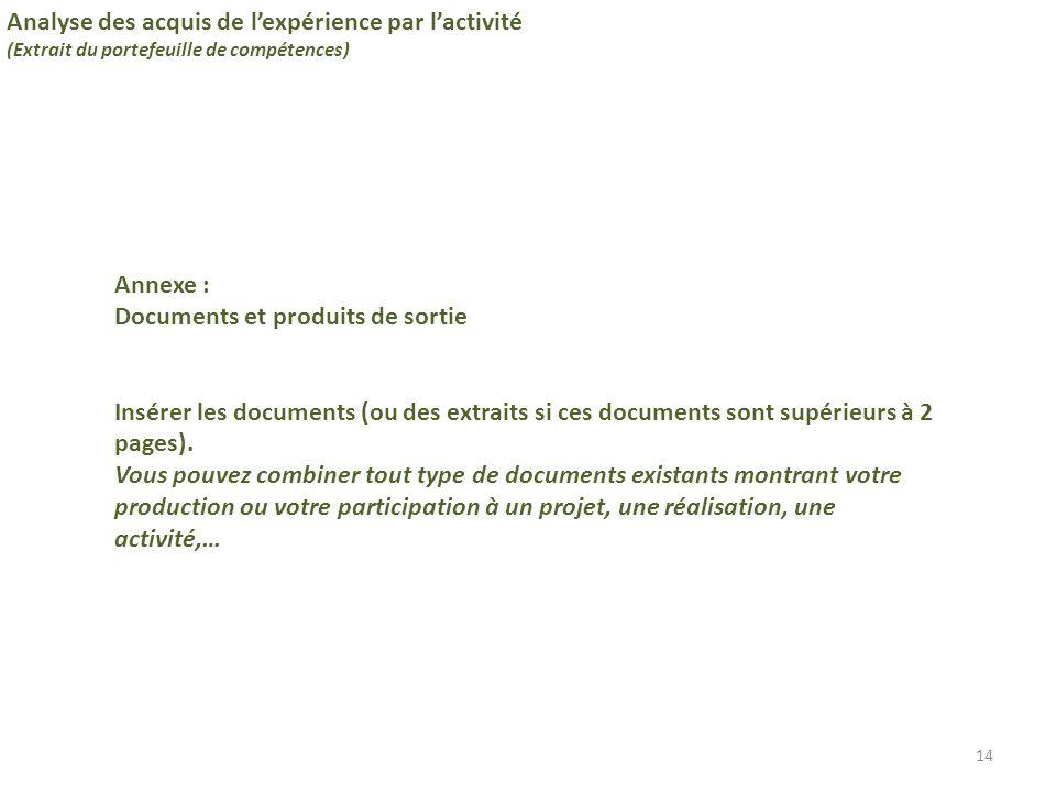 14 Analyse des acquis de l'expérience par l'activité (Extrait du portefeuille de compétences) Annexe : Documents et produits de sortie Insérer les doc