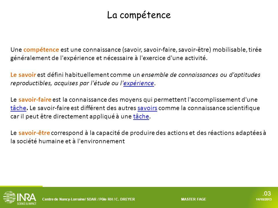 Centre de Nancy-Lorraine/ SDAR / Pôle RH / C. DREYERMASTER FAGE 14/10/2013.03 Une compétence est une connaissance (savoir, savoir-faire, savoir-être)