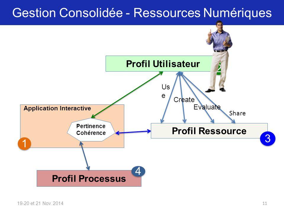 Gestion Consolidée - Ressources Numériques 19-20 et 21 Nov. 2014 Profil Ressource Profil Utilisateur Profil Processus Application Interactive Pertinen