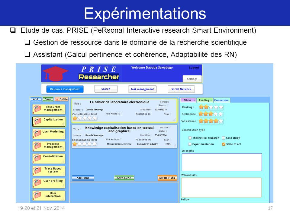 Expérimentations 19-20 et 21 Nov. 2014  Etude de cas: PRISE (PeRsonal Interactive research Smart Environment)  Gestion de ressource dans le domaine