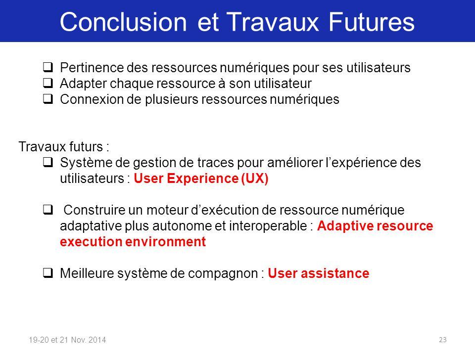 Conclusion et Travaux Futures 19-20 et 21 Nov. 2014  Pertinence des ressources numériques pour ses utilisateurs  Adapter chaque ressource à son util