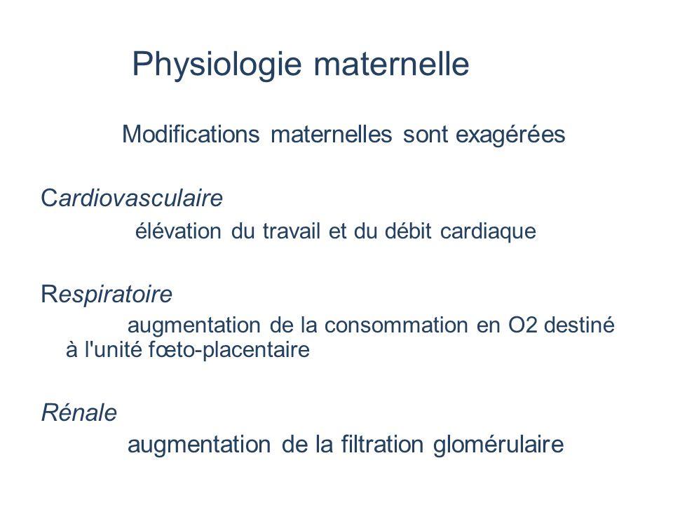Physiologie maternelle Modifications maternelles sont exagérées Cardiovasculaire élévation du travail et du débit cardiaque Respiratoire augmentation