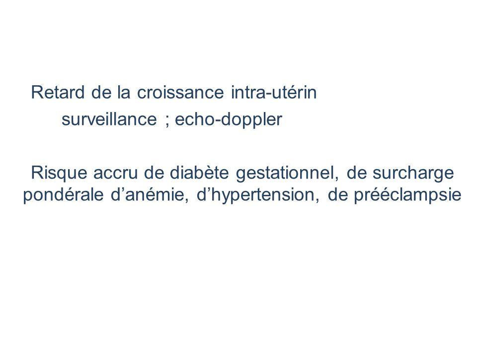 Retard de la croissance intra-utérin surveillance ; echo-doppler Risque accru de diabète gestationnel, de surcharge pondérale d'anémie, d'hypertension