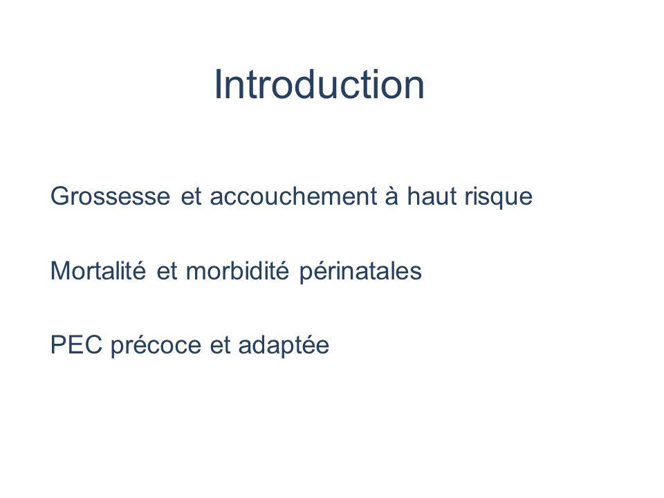 Introduction Grossesse et accouchement à haut risque Mortalité et morbidité périnatales PEC précoce et adaptée