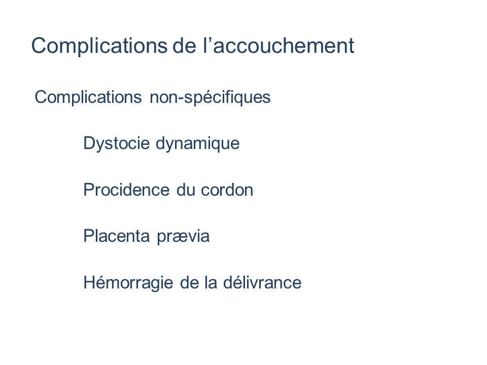 Complications de l'accouchement Complications non-spécifiques Dystocie dynamique Procidence du cordon Placenta prævia Hémorragie de la délivrance